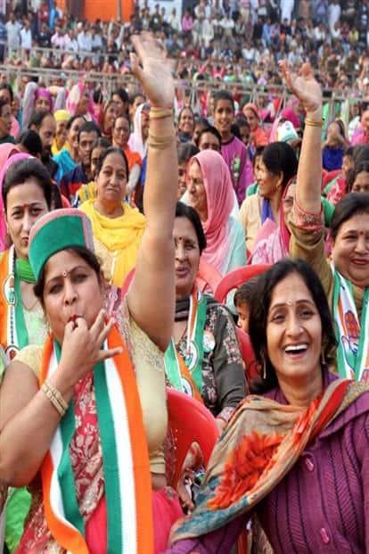 A Congress rally in Kangra. Photo: PTI
