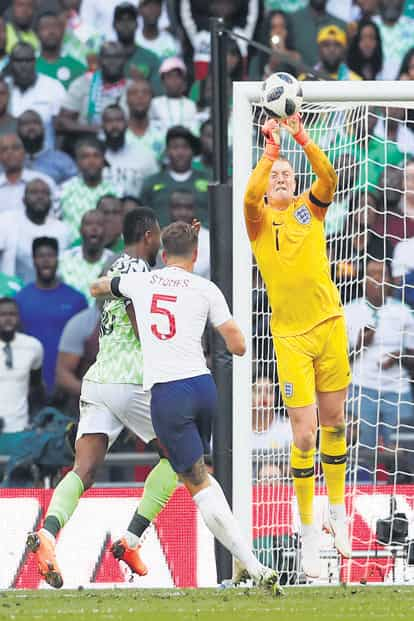 England's Jordan Pickford in action during a friendly tie against Nigeria at the Webley Stadium, in London on 2 June. Photo: David Klein/Reuters