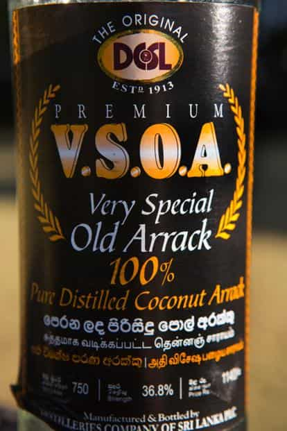 The Very Special Old Arrack alcohol label. Photo: Alamy