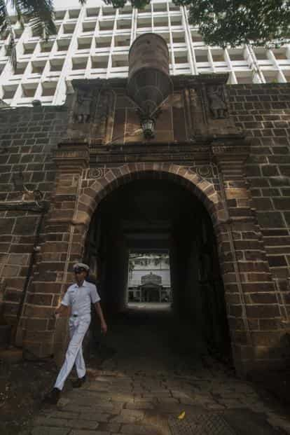 The Portuguese Gate that marks the entry into Bombay Castle at 'INS Angre'.