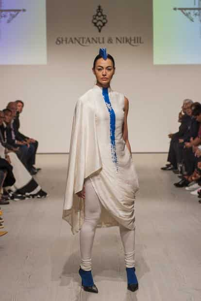 An ensemble from Shantanu & Nikhil's modern Indian showcase at Satchi Gallery during London Fashion Week in September.
