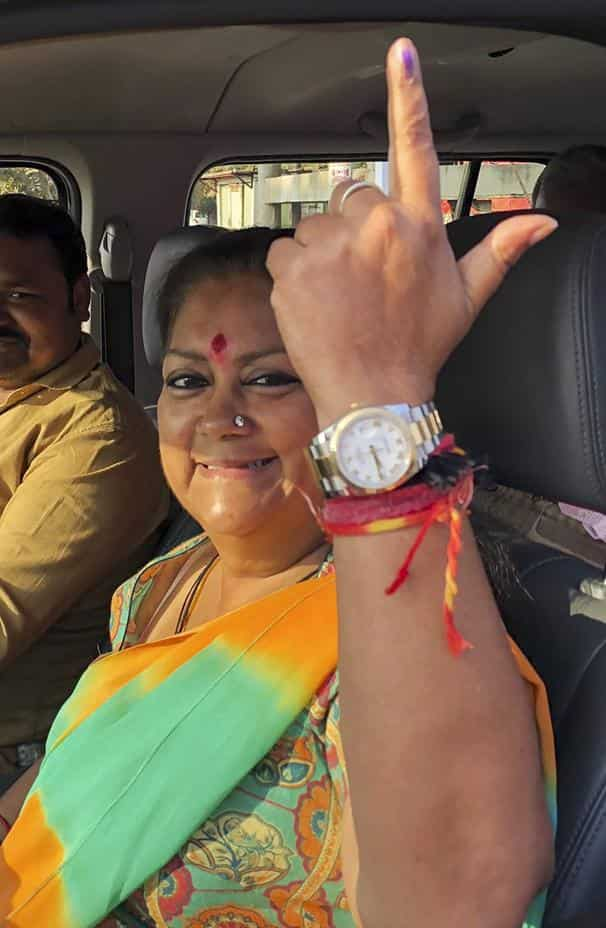 Vasundhara Raje is seeking re-election from Jhalrapatan assembly seat. Photo: PTI