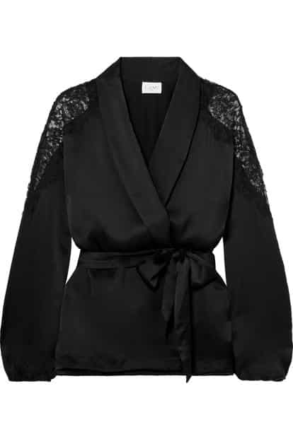 Textures and accents can go a long way in updating the basic black jacket. This lace-trimmed jacket from Cami NYC is a fine example. Photo courtesy: Netaporter.com