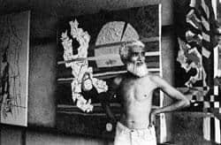 Artist as subject: M.F. Husain at work in his studio. New Delhi, 1970s