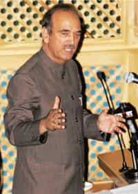 Way out: J&K chief minister Ghulam Nabi Azad addresses the state assembly before submitting his resignation, in Srinagar on Monday. Azad's exit may push the state into early elections.