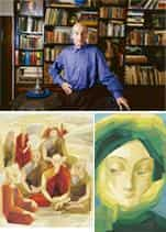 Angled: (clockwise from above) Sabavala in his south Mumbai home; Green Mantle (2006); and The Sangha (The Conclave) (2007). Abhijit Bhatlekar / Mint