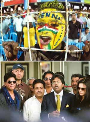 Overdrive: (top) A Chennai Super Kings fan during an IPL match held in Chennai last year. Senthil Kumar / PTI; and IPL commissioner Lalit Modi, (second from right) announces the shift abroad of IPL 20