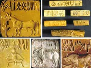 Deciphering: Examples of the 4,000-year-old Indus script on seals and tablets. A team of Indian scientists has found out that the Indus script has a structured sign system showing features of a formal