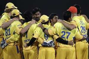 Chennai Super Kings huddle as they wait for the third umpire's decision during their 2009 Indian Premier League (IPL) T20 cricket tournament against the Rajasthan Royal in Centurion. Reuters