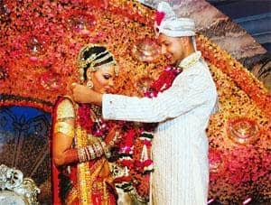 Grand finale: Rakhi Sawant (left) got engaged to Elesh Parujanwala, whom she chose from among 16 bachelors of the reality show. AFP