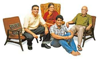 For the love of questions: (from left) Navin, Saranya, Ishwar and P.B. Jayakumar--three generations of quiz aficionados. Navin's brothers, who are quizzers, live overseas.