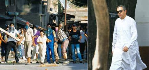 War cry: (left) Kashmiri protesters in Srinagar on 30 July. Fayaz Khan / Reuters; and Omar Abdullah. Kamal Kishore / PTI