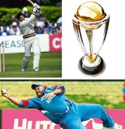 Exceptional efforts: (clockwise ) Captain Kapil Dev's 175 against Zimbabwe in 1983 was perhaps the best World Cup innings ever played; the World Cup and Dwayne Leverock's catch for Bermuda against Ind