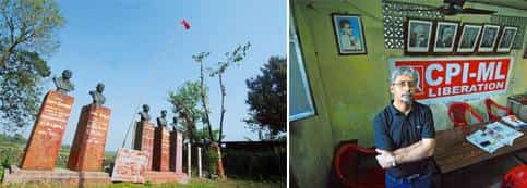 The cradle: (left) Shaheed Vedi, where nine women and two children were killed in 1967 and Naxalism was born; and Abhijit Majumdar at the CPI(M-L) Liberation's Kolkata office. Photographs: Indranil Bh