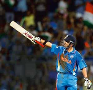 So close: Gautam Gambhir leaves the ground after getting out for 97 runs during the cricket World Cup final match between India and Sri Lanka on 2 April.