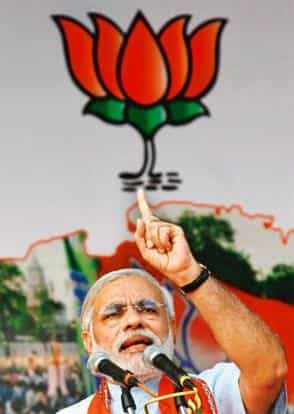 Orator: In his speeches, Modi speaks a Gujarati purged of Persian words. Amit Dave/Reuters