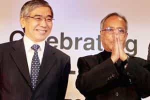 Finance minister Pranab Mukherjee and ADB president Haruhiko Kuroda in New Delhi on Monday. (PTI photo)