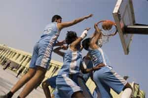 File photo of schoolchildren of 11th and 12th standard of Ramjas school,R K Puram, Delhi playing basketball on the school grounds. Photo by Madhu Kapparath