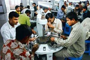 Credibility concerns: Diamond workers at a factory in Gujarat. Circular trading is also used as a conduit in money laundering, said a senior Enforcement Directorate official.