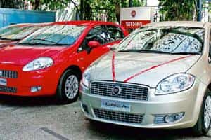 Space crunch: Fiat cars on display at a Tata Motors showroom in Okhla, New Delhi. Fiat says its decision to part with Tata Motors was prompted by increasing congestion in the showrooms. Photo: Jasjeet