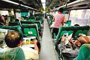 First among equals: The chair car coach in the New Delhi-Bhopal Shatabdi Express. Photographs by Pradeep Gaur/Mint
