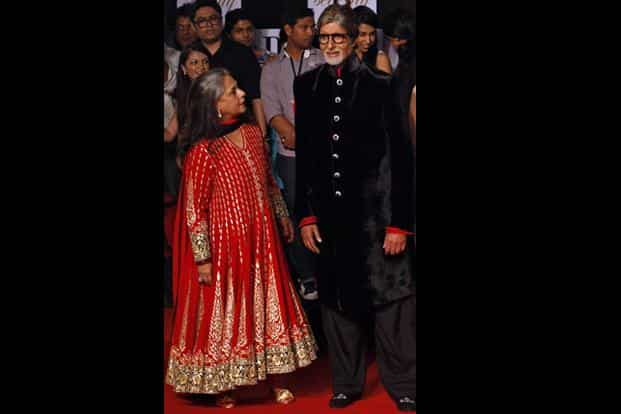 The Big B, as he is popularly called, arrives at a party with his wife Jaya Bachchan. Bachchan was in Black; the lady in red. AP