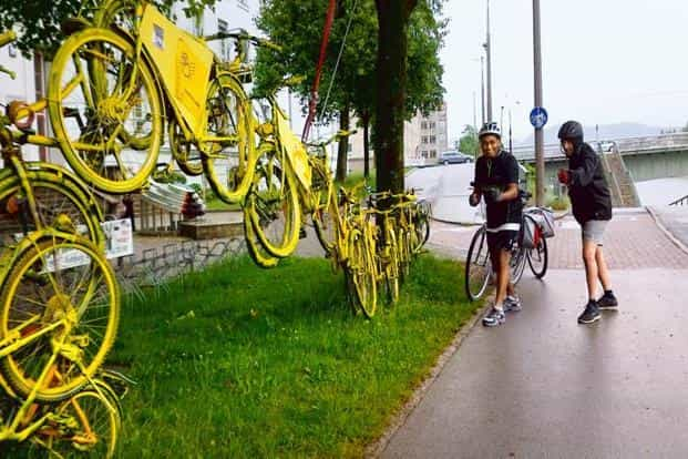 Bicycle art on the outskirts of Salzburg. Photo: Arun Katiyar
