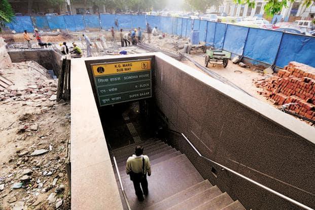 The ground around the KG Marg subway is dug up and the area barricaded. Photographs by Pradeep Gaur/Mint