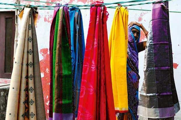 Silk and tussar seem to be the most favoured yarns for sari revivalists. Photo: Priyanka Parashar/Mint