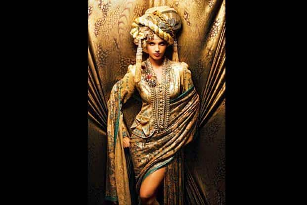Sequin sheeted chiffon sari with handmade necklace and bejewelled turban. Collection: Pirates of Couture, 2010; model: Gabriela Bertante. Photo: Vibhash Tiwari.