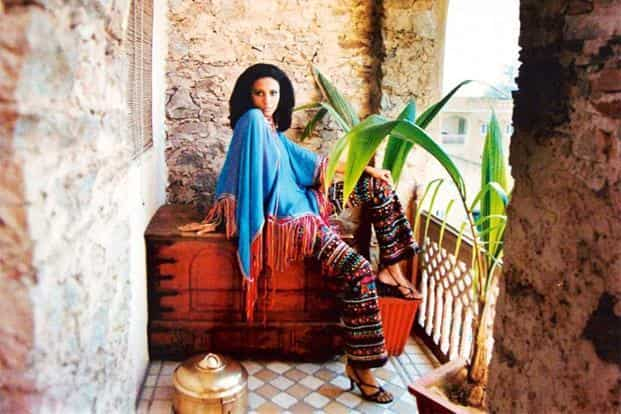 Chiffon poncho and embroidered trousers. Collection: Dance of the Seven Veils, 2004; model: Kiran Vajpayee. Photo: Bharat Sikka