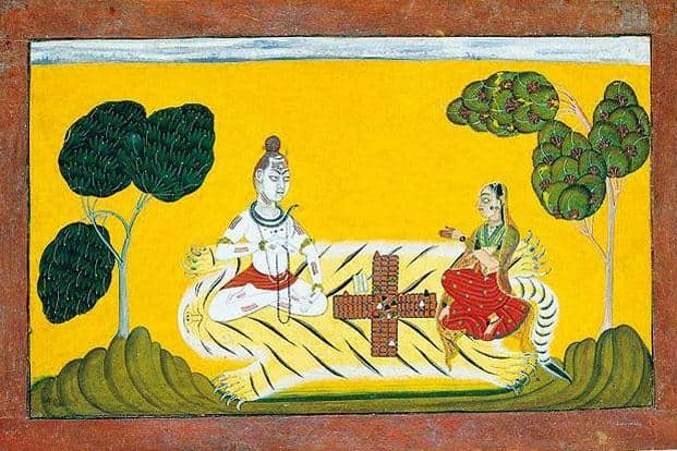 A watercolour painting of Shiv and Parvati playing chaupar.