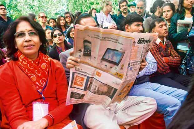 Even a session on William Shakespeare at the 2013 Jaipur Literature festival couldn't keep this man away from the newspaper.