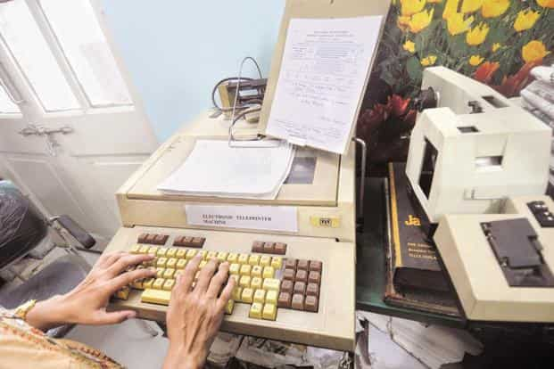 One of the old-style teleprinter machines that was used to send telegrams at the CTO, BBD Bagh, Kolkata. Photo: Indranil Bhoumik/Mint