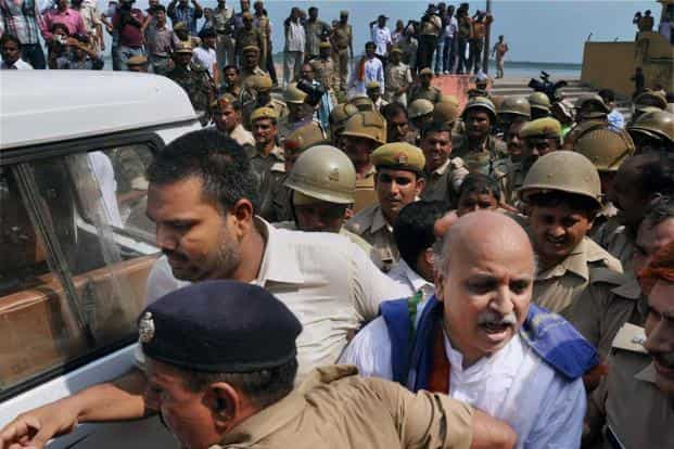 VHP leader Praveen Togadia being taken into custody from Gola ghat in Ayodhya. Togadia along with VHP leader Ashok Singhal were among around 1,700 people arrested in a crackdown by the UP government to foil the saffron outfit's yatra. PTI