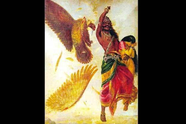 Raja Ravi Varma's 'Ravana Sita Jathayu'. Photo: Wikimedia Commons