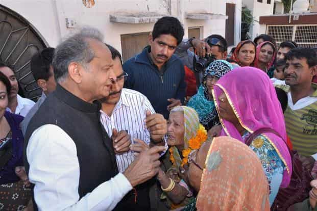 Ashok Gehlot during an election campaign in Jodhpur. Gehlot-led Congress government is seeking to return to power. If Congress wins, it will create a record as no party has won back-to-back terms in the desert state in the 20 years since 1993. Pradeep Gaur/Mint