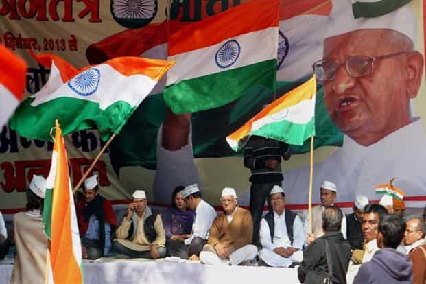 Anna Hazare supporters hold a fast to press for the Jan Lokpal Bill at Jantar Mantar in New Delhi on 11 December. In 2011, the demand for a Lokpal Bill drew thousands of people and also stopped parliamentary proceedings. PTI