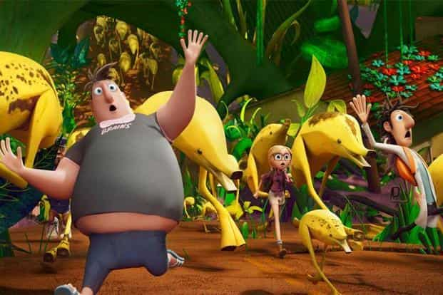 Flint's band, in 'Cloudy With a Chance of Meatballs 2', lands on the island, King Kong style, to destroy the machine, but instead encounter edible creatures of all shapes, sizes and imaginations