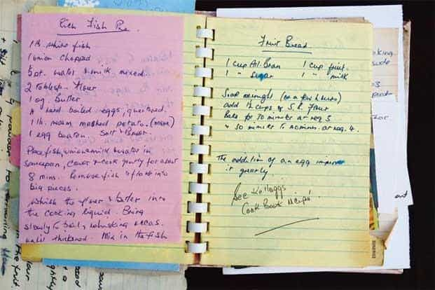 The recipe as written by the writer's mother in her journal.
