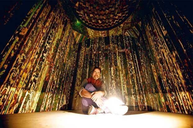 Shetty at Galleryske, Delhi, within the 'temple-hut'. Photographs: Priyanka Parashar/Mint