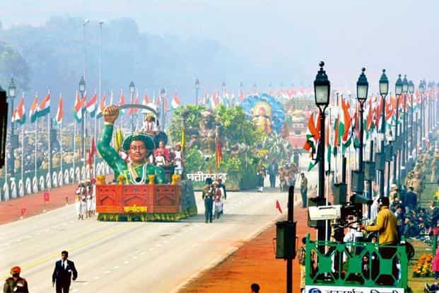 The float representing Karnataka at this year's Republic Day Parade. Photo: Mohd Zakir/Hindustan Times