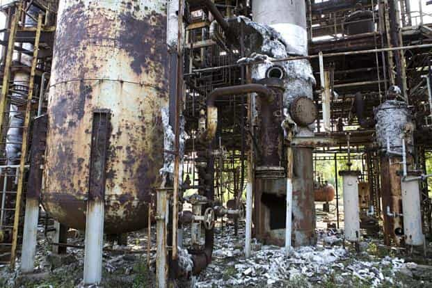 The Union Carbide plant in Bhopal. A Bhopal court sentences eight people to two years each in jail over a gas plant leak that killed thousands of people in 1984.