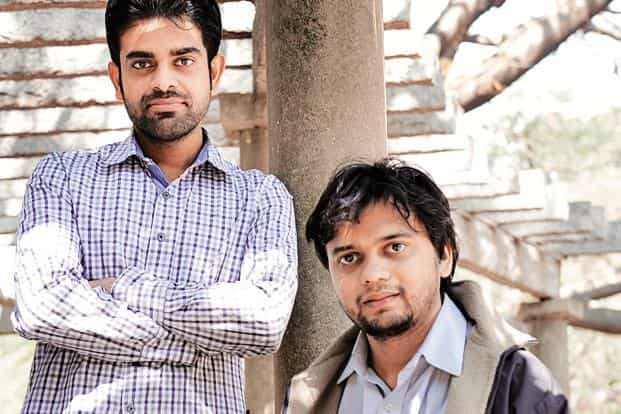 Usama Abbasi (left) and Prakhar Jain of MicroXlabs. The firm's miniature testing instrument can test blood in under a minute at less than Rs20 per test. Photo: Hemant Mishra/Mint