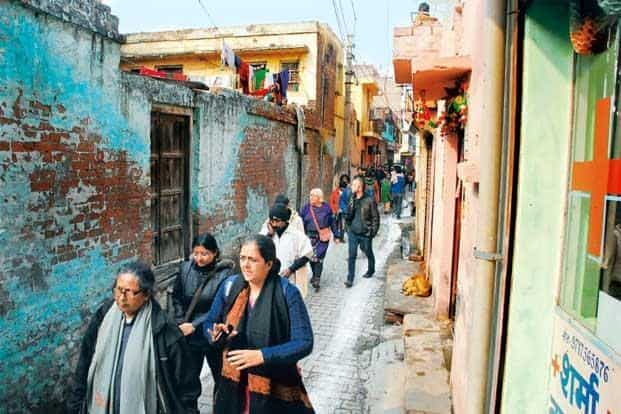 Walk the talk: Moloyashree Hashmi (left) at the heritage walk in Jhandapur, Uttar Pradesh on 1 January. Photographs: Courtesy Janam