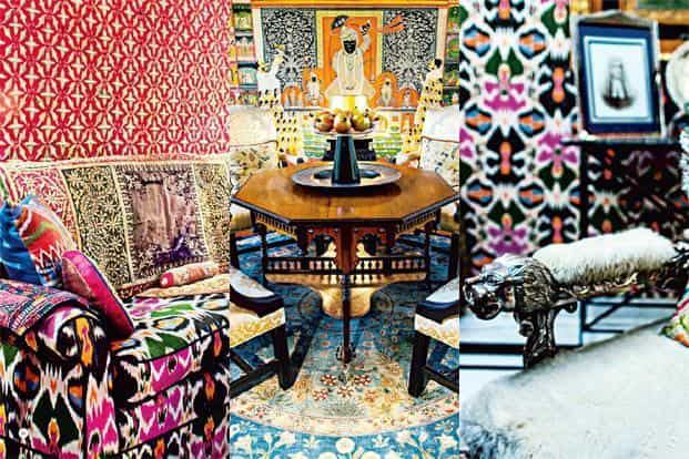 (From left) Adil Ahmed used a bright Ikkat print to upholster his sofa and layered it with embroidered ceremonial quilts; a 'pichvai' in Ahmed's home; an old throne in Ahmed's home with faux fur. Photographs by Sudhir Chandra