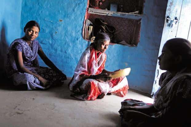 Mangla Jevani (top), 47-year-old landless labourer from Nagzari, Wardha, had to send her daughter to work in the farms after her husband's death. Photo: Abhijit Bhatlekar/Mint