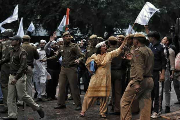 AAP supporters shout slogans in New Delhi. In Kutch in Gujarat, Kejriwal's car was attacked by a few unidentified people. Similar clashes were reported in other Gujarat towns, and in UP towns such as Jhansi, Kanpur and Allahabad. Reuters