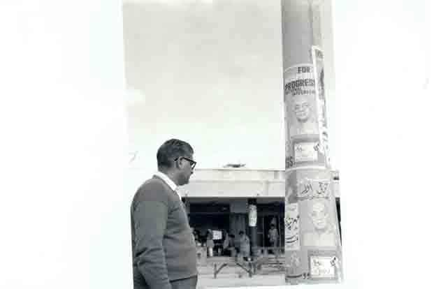 Photo shows election symbols posted on cement pillars in 1962. Nehru in the wake of the criticism for government's lack of attention to defence, sacked the then defence minister Krishna Menon.