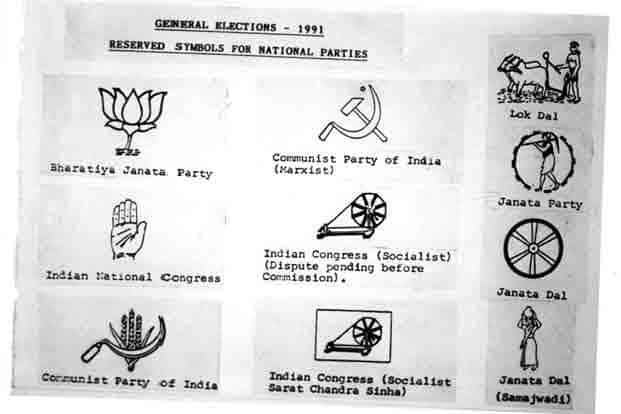 Symbols of political parties in 1991. The Congress emerged as the largest party with 232 seats, while the BJP came in second with 120 seats and the Janata Dal won 59 seats.